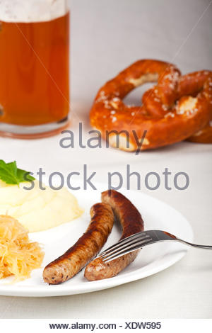 bavarian cuisine,sausage,homemade - Stock Photo