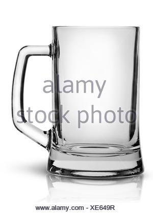 In front empty beer mug isolated on white background. - Stock Photo