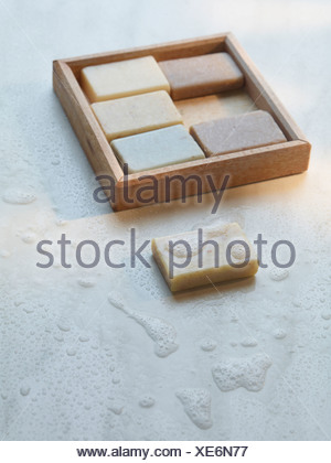 Close up of box of soaps - Stock Photo