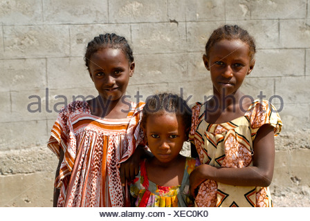 Girls of the Afar tribe in Tadjoura, Djibouti, East Africa, Africa - Stock Photo