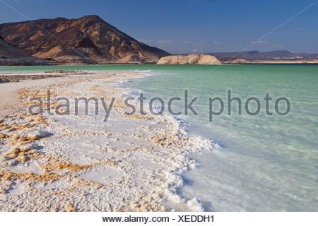 Lake, Assal, -155m, deepest point, Africa, mountain, mountains, scenery, landscape, Djibouti, scenery, landscape, - Stock Photo