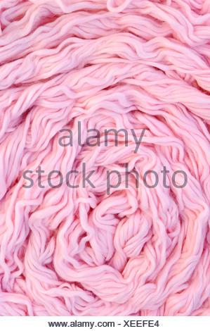 wool heap died pile backdrop background pink raw arrangement object macro - Stock Photo