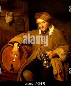 Gabriel Metsu The old drinker 1655 Netherlands Dutch Holland - Stock Photo
