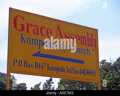 Signboard for Grace Assembly pentecostal church, Kampala, Uganda - Stock Photo