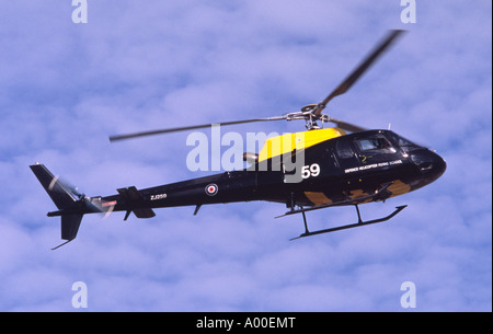 Eurocopter AS-350BB Squirrel HT1 operated by the RAF Defence Helicopter Flying School making a flypast at Fairford - Stock Photo