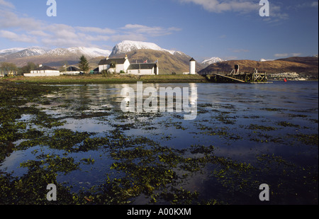 Corpach on Loch Eil with a snow covered Ben Nevis above Fort William Scotland UK - Stock Photo