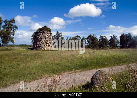 dh Culloden battle field CULLODEN MOOR INVERNESSSHIRE Memorial stone cairn on battlefield site bonnie prince charlie 1745 rebellion