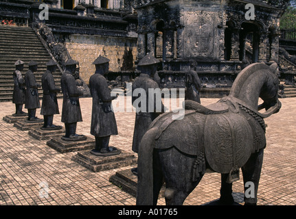 Stone Mandarin Honor Guards at Tomb of Khai Dinh Hue Vietnam - Stock Photo