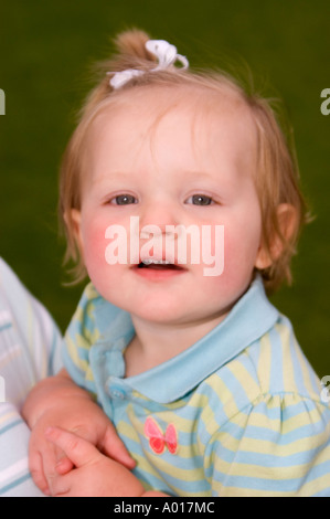 A Caucasian 14 month old female child, wearing a blue ...