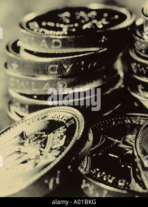 Stack of one pound sterling coins - Stock Photo