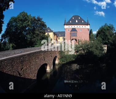 Wasserschloss Burgau, Steinbruecke ueber den Wassergraben, Dueren-Niederau, Rur, Rheinland, Nordrhein-Westfalen - Stock Photo