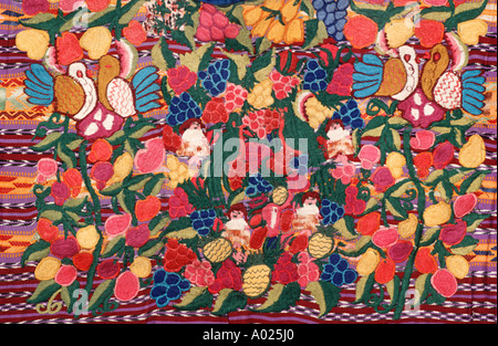 Detailed of a womans blouse called a huipil from Totonicapan Guatemala Central America Guatemalan Maya embroidery - Stock Photo