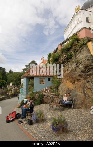 Portmeirion italianate village designed by eccentric architect Clough Williams Ellis near Porthmadog Gwynedd north - Stock Photo