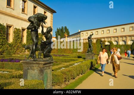Valdstejnska zahrada terraced garden in the Mala Strana quarter of Prague the capital of Czech Republic EU - Stock Photo