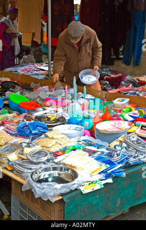 Household goods at Barbes market France EU - Stock Photo