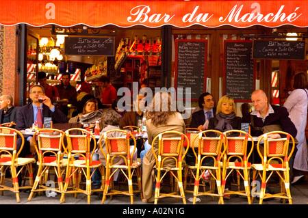 Bar du Marche in Rue de Seine in the district of Saint Germain in Paris the capital of France EU - Stock Photo