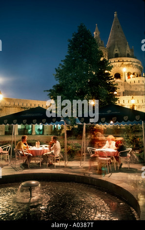 Budapest Hungary, Hungarian Cafe Restaurant Bar Terrace Male TOurists on Terrace at 'Hilton Hotel' Near 'Fishermens - Stock Photo
