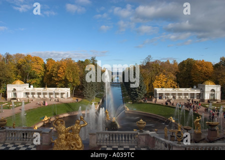 Russia.Peterhof in the autumn.Type from Big cascade on fountain «Samson», Sea channel and path channel. - Stock Photo