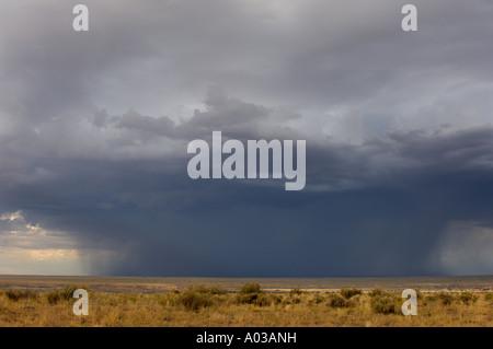 Rain storm over the arid plains near the Four Corners region of New Mexico. Digital photograph - Stock Photo
