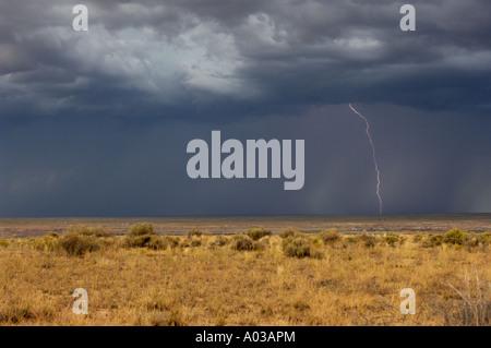 Lightning over the arid plains near the Four Corners region of New Mexico. Digital photograph - Stock Photo