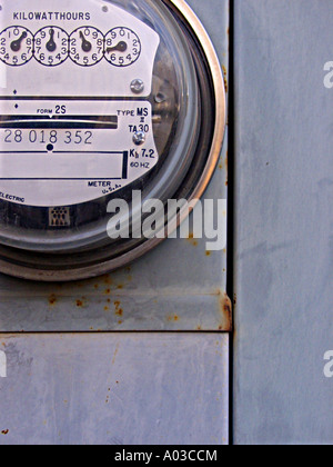 Close view of a residential style electrical power meter. - Stock Photo
