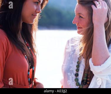 Friendship, holiday, summer, Reassurance, girls, beach, holiday - Stock Photo