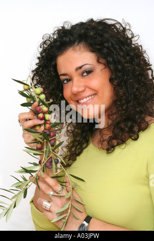 Olives and girl - Stock Photo