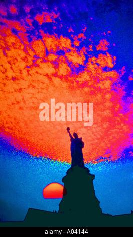 usa statue of liberty sundown new york red sky Stock Photo