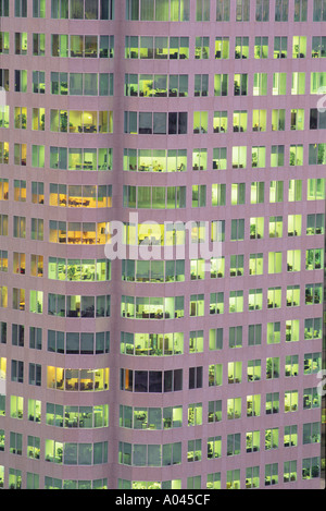Canada Ontario Toronto close up of office building showing lights at night - Stock Photo