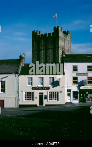 Castle Keep seen over the Market Place, Richmond, North Yorkshire, England, UK. - Stock Photo