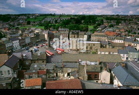 View over the Market Place from the Castle Keep, Richmond, North Yorkshire, England, UK. - Stock Photo