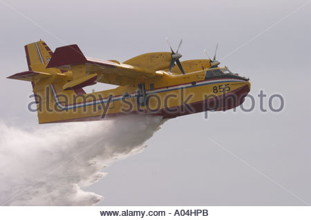 Canadair CL-415 '855' water bomber Croatian Air Force delivers water bomb during demonstration - Stock Photo