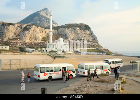 Gibraltar Tourist buses in front of the Mosque of the Custodian of the Two Holy Mosques at Europa Point - Stock Photo