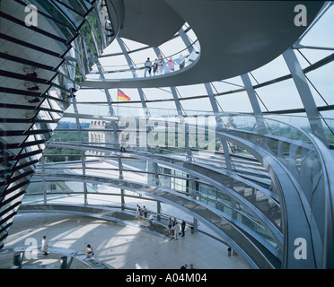 The glass dome in the Reichstag Berlin Germany. - Stock Photo