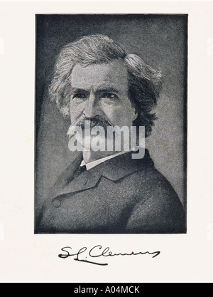 Mark Twain pseudonym of Samuel Langhorne Clemens 1835 to 1910 American author - Stock Photo
