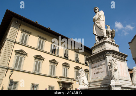 The Universal Writer, Dante Allighieri. Located in front of Santa Croce Church, Piazza Santa Croce, Florence - Firenze, - Stock Photo