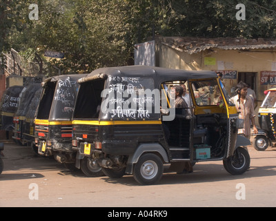 JHANSI MADHYA PRADESH INDIA November Three wheel auto rickshaws line up at Jhansi station - Stock Photo