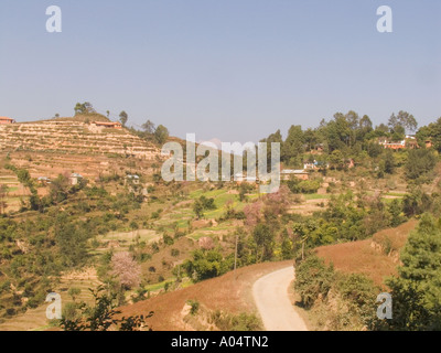 DHULIKHEL VALLEY NEPAL November Looking across the terraced fields in this fertile valley in the foothills of Himalayas - Stock Photo