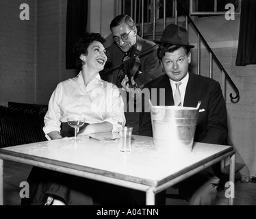 BENNY HILL UK comedian in December 1967 rehearsing with actress Olga Lowe for a TV show - Stock Photo