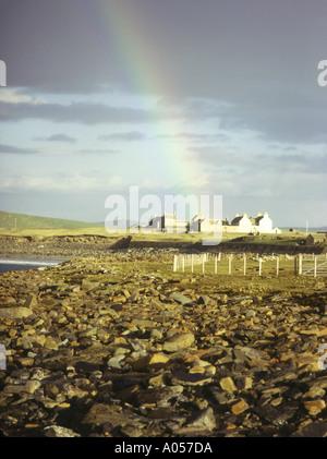dh Skaill House SANDWICK ORKNEY Rainbow historic house Skara Brae Skaill Bay rocky coastal shore - Stock Photo