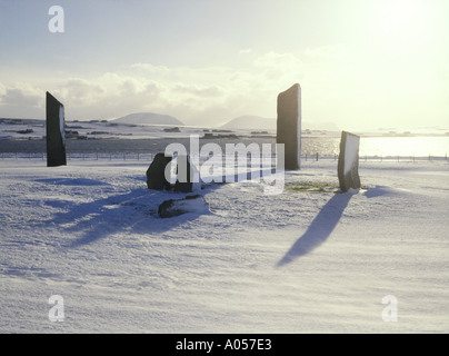 dh Stenness Standing Stones STENNESS ORKNEY Neolithic snow world heritage winter beautiful britain - Stock Photo
