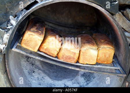 Fresh white bread having been baked in oven Beach restaurant Langebaan western cape South Africa RSA - Stock Photo