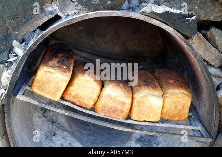 Fresh bread having been baked in oven Beach restaurant Langebaan western cape South Africa RSA - Stock Photo