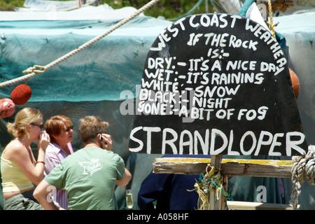 Menu of the weather at Die Strandloper beach restaurant Langebaan western cape South Africa RSA - Stock Photo