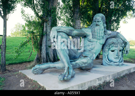 Statue of Leonardo da Vinci on the bank of the river Loire at town of Amboise, France where he lived for many years - Stock Photo