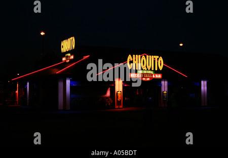 Chiquito Restaurant at night, Salford Quays, Manchester, UK - Stock Photo