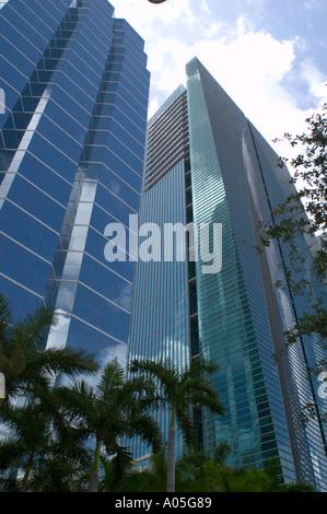 The Espirito Santo Bank headquaters building on Brickell Avenue at right in Miami Florida - Stock Photo