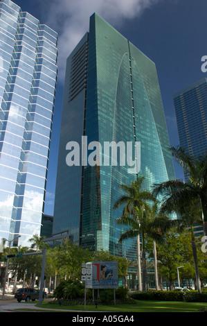 The Espirito Santo Bank headquarters building center on Brickell Avenue in Miami Florida - Stock Photo