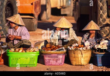 Morning market. Vientiane, Laos. - Stock Photo