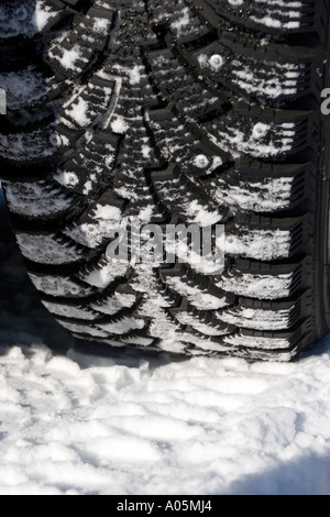 Close-up of a studded car winter tyre , made by Nokian Tyres , Finland - Stock Photo